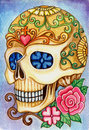 Art skull day of the dead festival design head hand watercolor painting on paper Stock Images