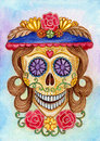 Art skull day of the dead festival design head women hand watercolor painting on paper Stock Photo