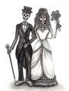 Art skull wedding day of the dead festival. Royalty Free Stock Photo