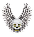 Art skull wings angel tattoo design head smiley face mix for hand pencil drawing on paper Stock Photography