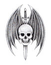 Art skull wings devil sword tattoo design head mix and for hand pencil drawing on paper Royalty Free Stock Photos