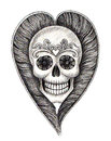 Art skull wings heart tattoo design head mix wing for hand pencil drawing on paper Royalty Free Stock Photography