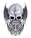 Art skull wings tattoo design mix graphic tribal hand pencil drawing on paper Stock Photography