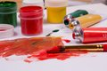 Art supplies acrylic paint on pallette and tubes Stock Images