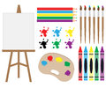 Art supplies clipart a set of designs Royalty Free Stock Photos