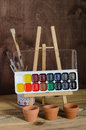 Art supplies. Watercolor paint, brushes, Photography. Royalty Free Stock Photo