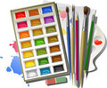 Art supplies: watercolor paints, brushes, pencils, Stock Photography