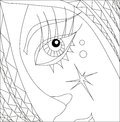 Art therapy with coloring part of girl face with eye Royalty Free Stock Photo
