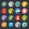 Art tools flat icon set Royalty Free Stock Photo