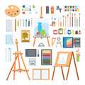 Art tools flat painting icons vector set.