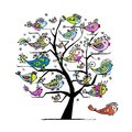 Art tree with funny fishes for your design Royalty Free Stock Photo