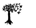 Art tree with special butterflies for your website Royalty Free Stock Image
