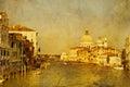 Art Venice, Italy. Gondolas on Grand Canal Royalty Free Stock Photo