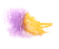 Art watercolor yellow, purple ink paint blob
