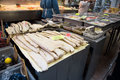 Arthur ave the bronx new york city dec fish with baccala at traditional italian seafood market on avenue in on december Royalty Free Stock Image