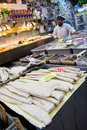 Arthur ave the bronx new york city dec fish with baccala at traditional italian seafood market on avenue in on december Royalty Free Stock Photography