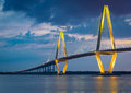 Arthur ravenel bridge in charleston south carolina twilight at the harbour overlooking the Stock Images