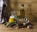 Artichoke asparagus mushroom and milk recipe Royalty Free Stock Image
