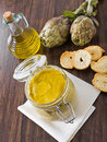 Artichoke pesto in glass jar. Royalty Free Stock Images