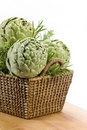 Artichokes in Basket Royalty Free Stock Image