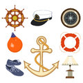 Articles of nautical equipment set items Royalty Free Stock Image