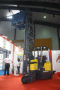 Articulated Fork Lift at India Warehousing Show Royalty Free Stock Photos
