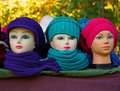 Artifical women s heads with hats three and make up Royalty Free Stock Photo