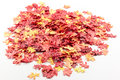 Artificial autumn leaves on a pile Royalty Free Stock Photo