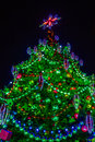 Artificial christmas tree against the rainy night sky vertical format photography Stock Image