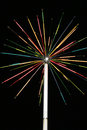 Artificial fireworks night illumination representing the explosion of petard on a background night sky Royalty Free Stock Photography