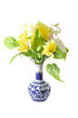Artificial flower on a porcelain vase isolated on white background Royalty Free Stock Photos