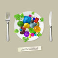 Artificial food vector illustration made of synthetic colorants additives flavors and other chemical components Royalty Free Stock Photos