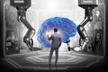 The artificial intelligence concept with businessman