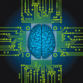 Artificial intelligence human brain as computer central processor Royalty Free Stock Images