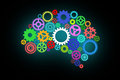 Artificial intelligence with human brain shape and gears Royalty Free Stock Photo