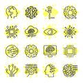 Artificial Intelligence Vector Icons. Icons for sites, apps, programs AI, chip, brain, processor and other. Editable Stroke. Royalty Free Stock Photo