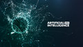 Artificial intelligence vector illustration. Turbulence flow trail. Futuristic science background. Organic structure Royalty Free Stock Photo