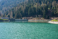 Artificial lake in the mountains Royalty Free Stock Images