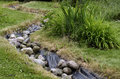 Artificial pond stream and decorative landscaped garden Royalty Free Stock Photo