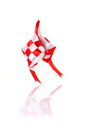 Artificial with and red ketupat reflection on white background Stock Image