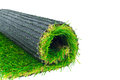 Artificial turf green grass roll on white Stock Images