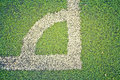 Artificial turf on soccer football field Stock Photo