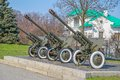Artillery from the second world war guns howitzers in a park Royalty Free Stock Images
