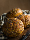 Artisan bread seeded rolls still life image of freshly baked ready to eat Royalty Free Stock Image