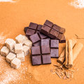 Artisan chocolate with some of the ingriedients that goe in to these chocolates Stock Image