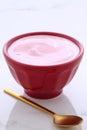 Artisan greek strawberry yogurt Royalty Free Stock Photo