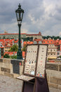 Artisan jewellery a view of prague from the charles bridge together with and old fashioned lamp Stock Photo