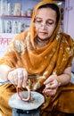 Artisan making bangles Royalty Free Stock Photo