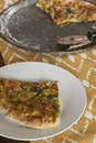 Artisan pizza home made veggie pie with onions peppers spinach and olives Royalty Free Stock Photography