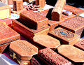Artisan Wood Boxes Royalty Free Stock Images